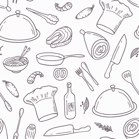 Outline seamless pattern with hand drawn food. Background in black and white for cafe or kitchen design. Vector illustration
