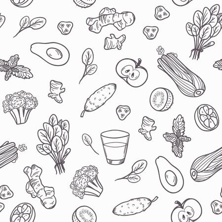 Dibujados a mano verduras contorno sin patrón. Ilustración del vector. Fondo alimentación saludable en blanco y negro