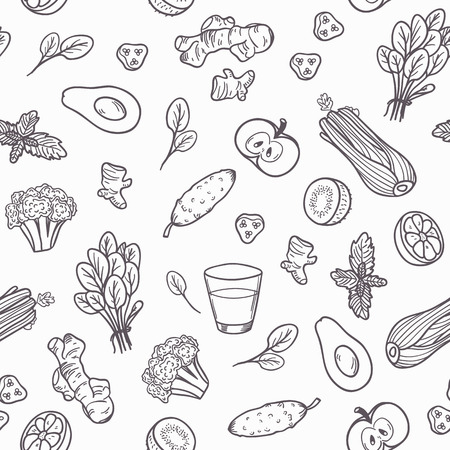 Hand drawn outline vegetables seamless pattern. Vector illustration. Healthy eating background in black and white