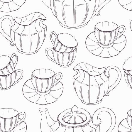 tea service: Seamless pattern with outline style tea service and leaves. Vector illustration. Kitchen backdround in black and white Illustration