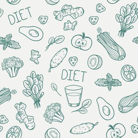 野菜のシームレスなパターン。ベクトルの図。健康的な食事の背景