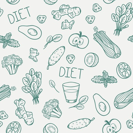 Vegetables seamless pattern. Vector illustration. Healthy eating background Ilustração