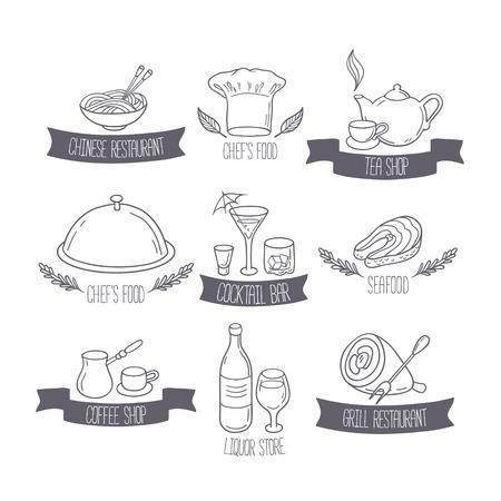 メニューやカフェ デザインの描かれた食べ物や飲み物のラベル テンプレートを手します。レストランのロゴを落書き。ベクトル図