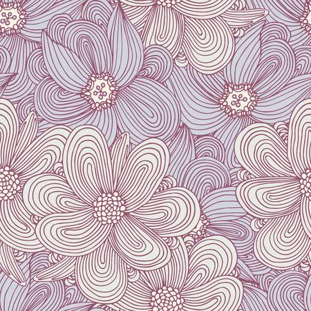 落書きスタイル花のシームレスなパターン。あなたのデザインの手描きお花のテキスタイル背景。ファッショナブルな夏の印刷。ベクトル図