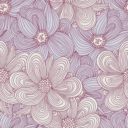 Doodle style flowers seamless pattern. Hand drawn floral textile background for your design. Fashionable summer print. Vector illustration