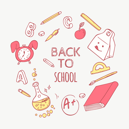 book background: Back to school doodle objects background. Hand drawn school supplies. Vector illustration Illustration