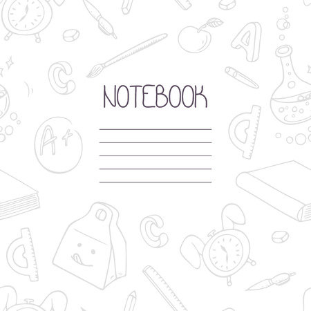 school text box clipart. book textbox back to school monochrome doodle notebook design and hand lettering sign text box clipart