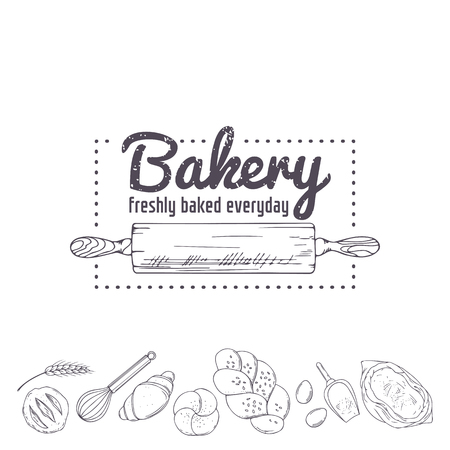 Bakery logo template. Hand drawn rolling pin and baking for your design in vector. Sketched illustration Logo