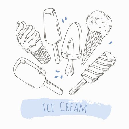 helado de chocolate: Conjunto de dibujado a mano diferentes de helado en el vector. Para el dise�o de envases. ilustraci�n del doodle con alimentos dulces