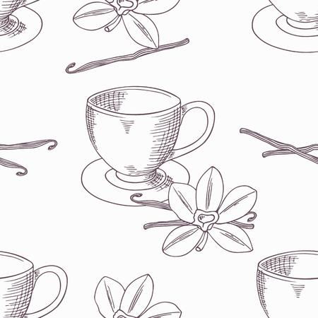 vainilla flor: Dibujado a mano la taza de café con la flor de la vainilla y el frijol sin patrón en el vector. Fondo Esquema. Ilustración Doodle Vectores
