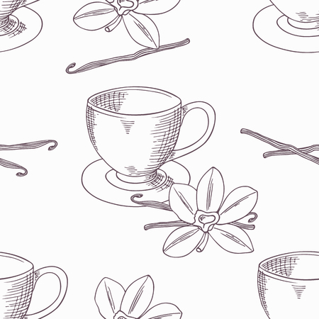 cafe shop: Hand drawn coffee cup with vanilla flower and bean seamless pattern in vector. Outline background. Doodle illustration Illustration