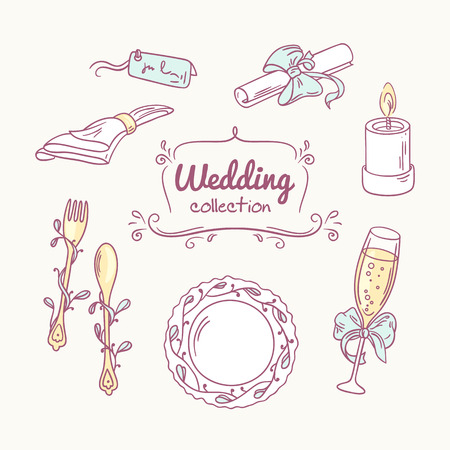 champagne glasses: Set of wedding table decoration in doodle style. Hand drawn celebration clip art