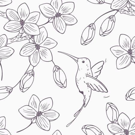 手は、ベクトルでハミング鳥コリブリと花のシームレスなパターンのモノクロ バージョンを描画します。落書きスタイル ハチドリと花のイラスト