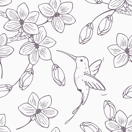 Hand drawn monochrome version of seamless pattern with humming bird colibri and flowers in vector. Doodle style floral illustration with hummingbird Ilustração