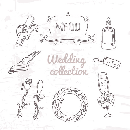 table decoration: Set of wedding table decoration in outline style. Hand drawn celebration clip art. Monochrome vector illustration Illustration