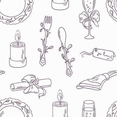 table decoration: Doodle wedding table decoration seamless pattern. Hand drawn outline celebration background. Outline monochrome vector illustration