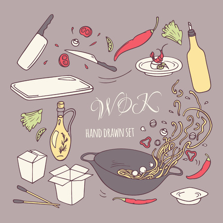 thai noodle: Set of hand drawn wok restaurant elements for your design. Doodle asian food. Vector illustration