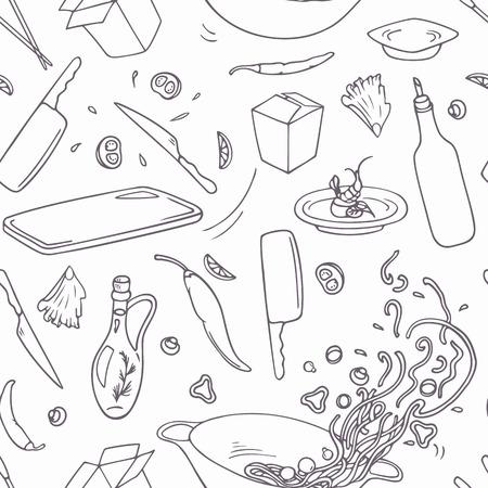 chinesisch essen: Set von Hand gezeichneten Umriss Wok Elemente für Ihr Design. Doodle Asiatisches Essen. Vektor-Illustration