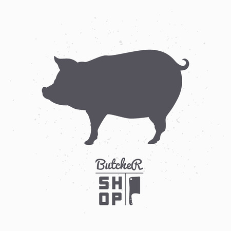 siluetas de animales: Pig silhouette. Pork meat. Butcher shop  template for craft food packaging or restaurant design. Vector illustration