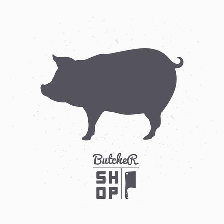 jabali: Silueta de cerdo Carne de cerdo. Plantilla de la carnicería para el envasado de alimentos artesanales o diseño de restaurante. Ilustración vectorial