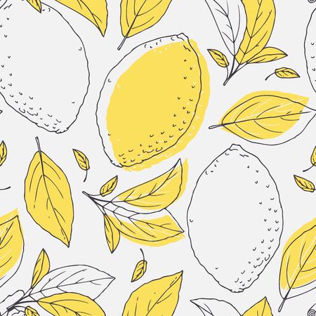 輪郭描画の手でシームレス パターン レモンと葉を概説します。飲料包装または台所設計の落書き果物背景。ベクトル図