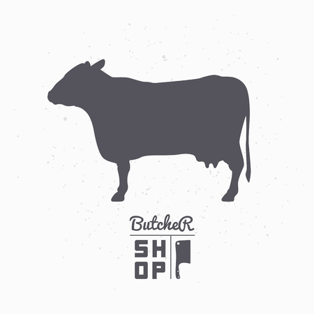 cow silhouette: Cow silhouette. Beef meat. Butcher shop template for craft food packaging or restaurant design. Vector illustration