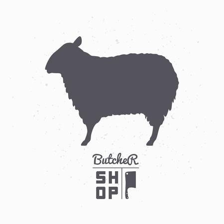 羊のシルエット。ラム肉。肉屋クラフト食品包装やレストラン デザインのショップ テンプレートです。ベクトル図