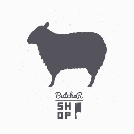Sheep silhouette. Lamb meat. Butcher shop template for craft food packaging or restaurant design. Vector illustration Illustration