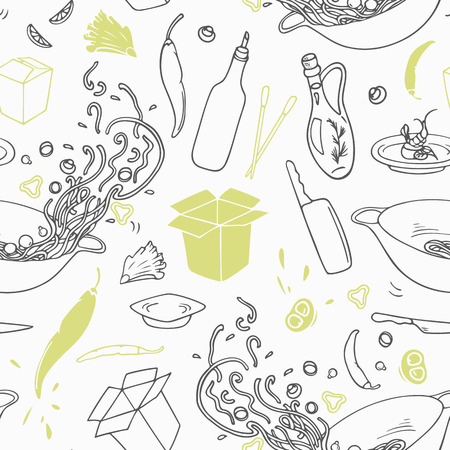 asian cuisine: Stylized seamless pattern with hand drawn wok restaurant elements. Hipster background. Doodle asian cuisine. Vector illustration Illustration
