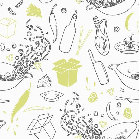 Stilisierte nahtlose Muster mit Hand gezeichneten Wok-Elemente. Hipster Hintergrund. Doodle asiatische Küche. Vektor-Illustration