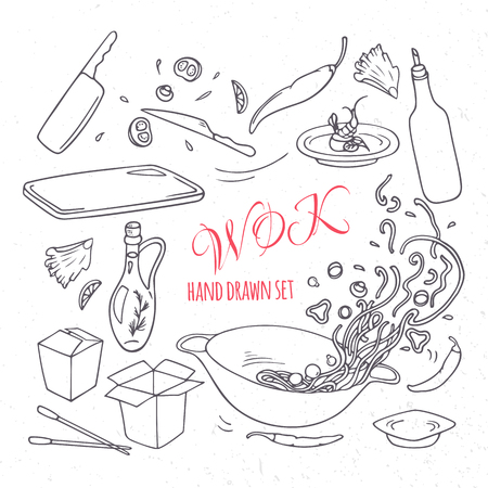 Set of outline hand drawn wok restaurant elements for your design. Doodle asian food. Vector illustration