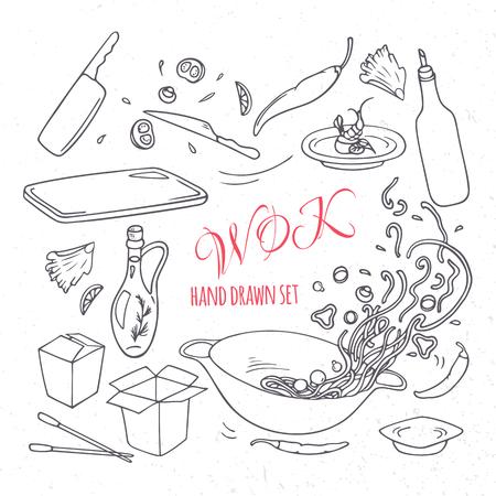 Set of outline hand drawn wok restaurant elements for your design. Doodle asian food. Vector illustration