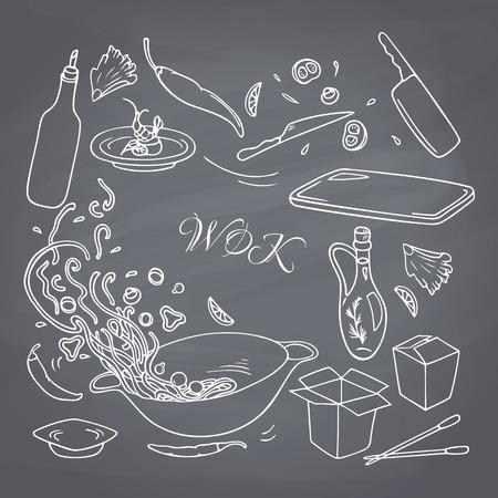 comida rapida: Conjunto de contorno dibujado a mano elementos de restaurante wok para su dise�o. Tiza estilo de dibujo comida asi�tica. Fondo de la pizarra. Ilustraci�n vectorial