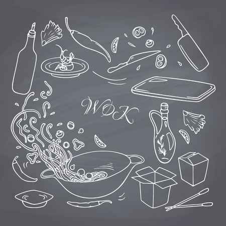 food illustrations: Set of outline hand drawn wok restaurant elements for your design. Chalk style doodle asian food.  Chalkboard background. Vector illustration Illustration