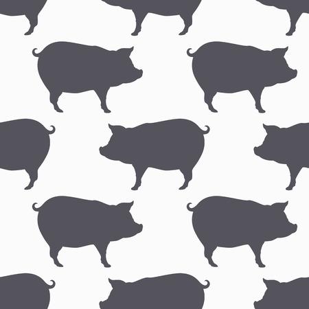 豚のシルエットのシームレスなパターン。豚肉。クラフト食品包装またはブッチャー ショップ デザインの背景。ベクトル図  イラスト・ベクター素材