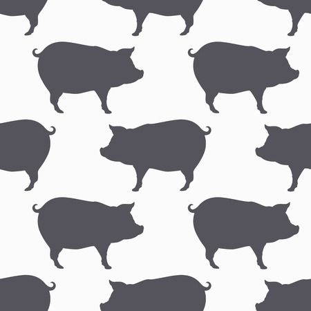 Pig silhouette seamless pattern. Pork meat. Background for craft food packaging or butcher shop design. Vector illustration