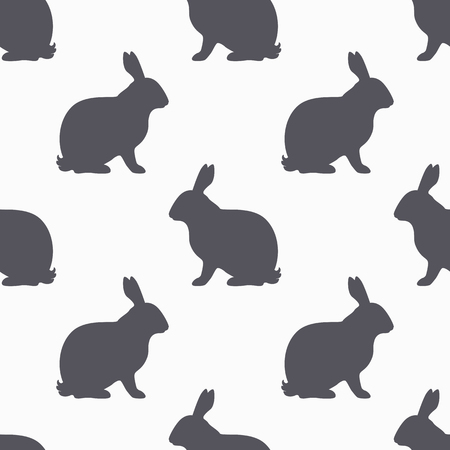 sit shape: Hare silhouette seamless pattern. Rabbit meat meat. Background for craft food packaging or butcher shop design. Vector illustration