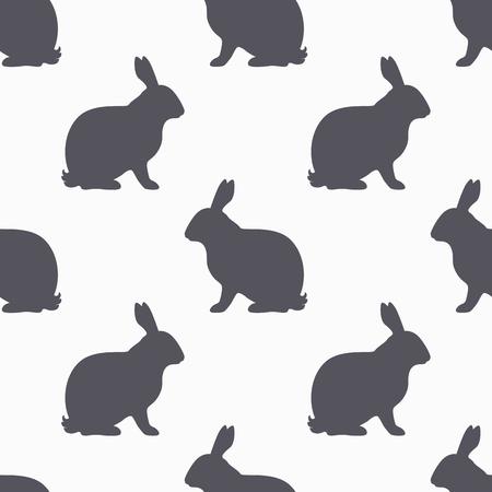 silhouette lapin: Hare silhouette seamless. Viande de viande de lapin. Fond pour l'emballage alimentaire de l'artisanat ou de la conception de boucherie. Vector illustration