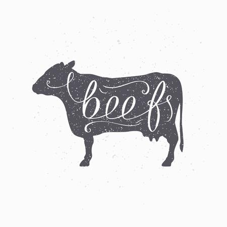 手描き下ろしヒップスター牛のシルエット。牛肉の肉手レタリングします。クラフト牛肉肉包装または食品レストランの肉屋店デザイン テンプレー