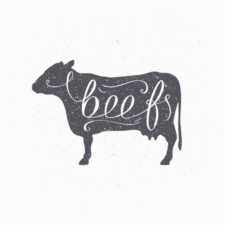 Hand drawn hipster cow silhouette. Beef meat hand lettering. Butcher shop design template for craft beef meat packaging or food restaurant. Grunge paper style background. Vector illustration