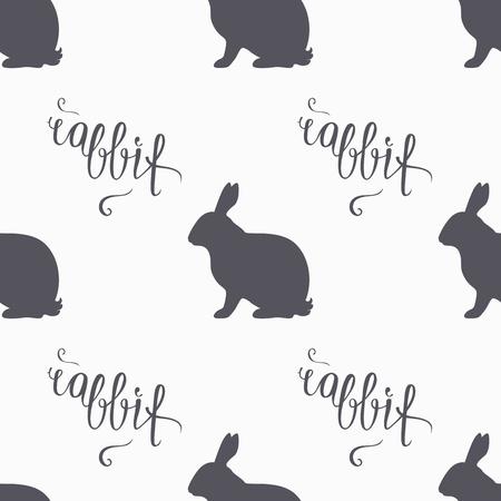 lapin silhouette: Tir� par la main hippie lapin pattern. La viande de lapin de lettrage � la main. Butcher mod�le de conception de l'atelier pour le paquet de viande de lapin artisanat. Seamless d'emballage. Vector illustration