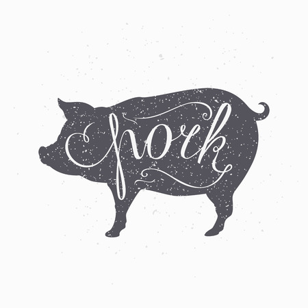Hand drawn hipster pig silhouette. Pork meat hand lettering. Butcher shop design template for craft pork meat packaging or food restaurant. Grunge paper style background. Vector illustration Ilustração
