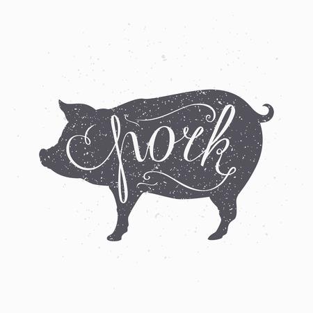 Hand drawn hipster pig silhouette. Pork meat hand lettering. Butcher shop design template for craft pork meat packaging or food restaurant. Grunge paper style background. Vector illustration Ilustrace