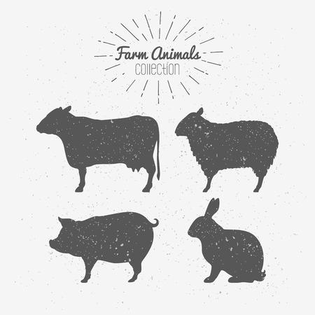 Set van landbouwhuisdieren silhouetten. Rundvlees, lamsvlees, varkensvlees, konijn vlees. Slagerij design template voor ambachtelijke vlees verpakking of food restaurant. Sunburst stralen label template. Vector illustratie