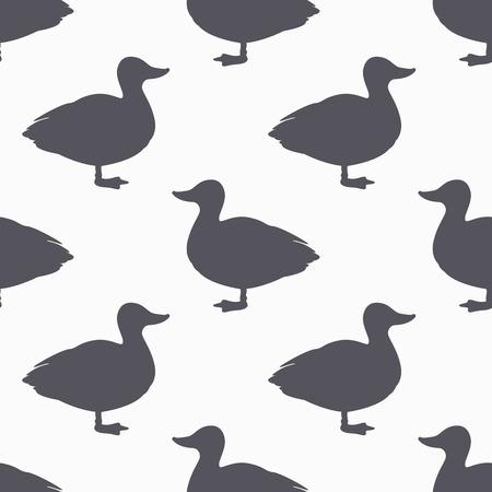ファームの鳥のシルエットのシームレスなパターン。鴨肉。クラフト食品包装またはブッチャー ショップ デザインの背景。ベクトル図  イラスト・ベクター素材