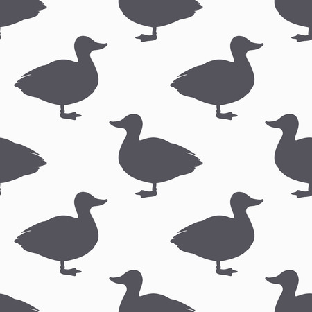 Farm bird silhouette seamless pattern. Duck meat. Background for craft food packaging or butcher shop design. Vector illustration Çizim