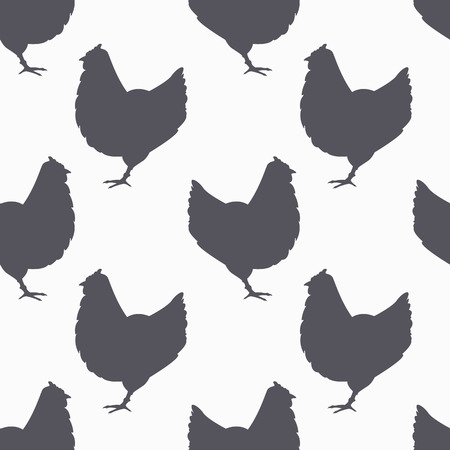Farm bird silhouette seamless pattern. Chicken meat. Background for craft food packaging or butcher shop design. Vector illustration Çizim