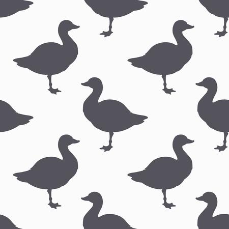 butcher shop: Farm bird silhouette seamless pattern. Goose meat. Background for craft food packaging or butcher shop design. Vector illustration