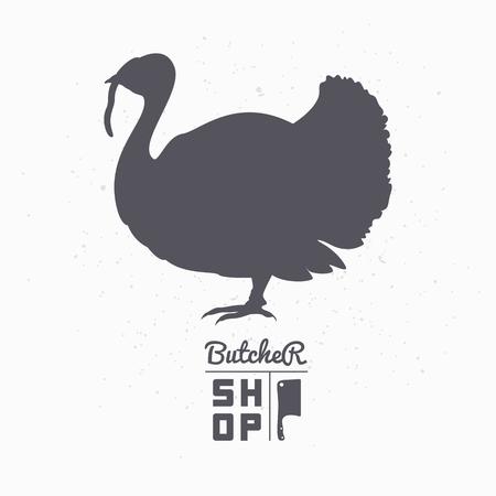 aves de corral: Granja silueta del pájaro. Carne de pavo. Carnicero plantilla de tienda para el envasado de alimentos de artesanía o el diseño del restaurante. Ilustración vectorial
