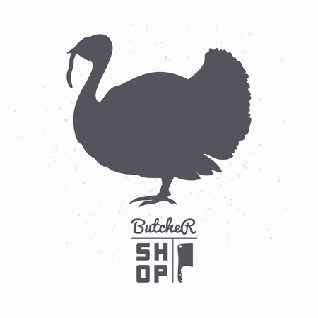 Farm bird silhouette. Turkey meat. Butcher shop  template for craft food packaging or restaurant design. Vector illustration